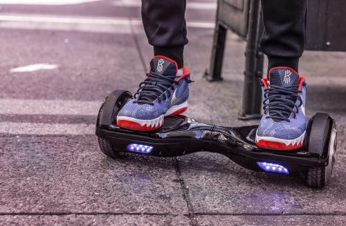 Feet on a hoverboards